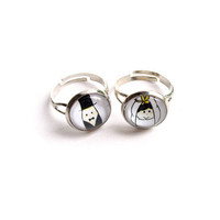 Wedding - Tiny Couple Ring, Handmade Glass Ring