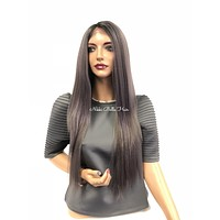 Lavender Gray Swiss Lace Front wig 22"