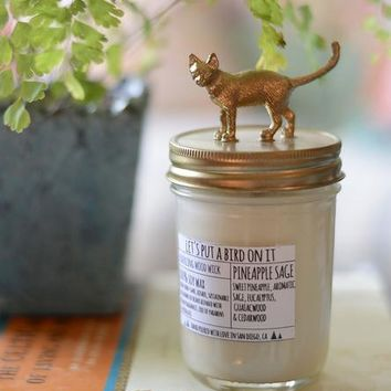 Cat Lid Pineapple Sage Scented Soy Candle