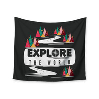 "Famenxt ""Explore the World"" Black White Wall Tapestry"