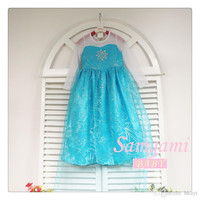 Frozen Elsa Anna Girls Polyester Long Sleeve Sequin Tulle Princess Dress Formal Dresses Girl Big Children Clothes Blue 110-150cm.