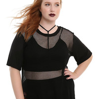Black Oversized Fishnet Girls Top Plus Size