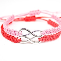 Infinity Friendship Bracelets Pink and Red