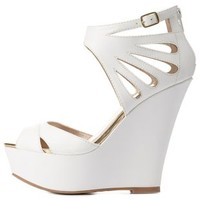 White Cut-Out Peep Toe Wedge Sandals by Charlotte Russe