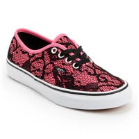 Vans Women's Authentic Neon Pink & Lace Shoe