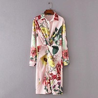 FLORAL STRIPED SO PERFECT RUCHED BUTTON-UP DRESS