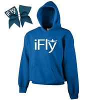 Royal Blue iFly Cheer ComBow- White Print (Youth Large)