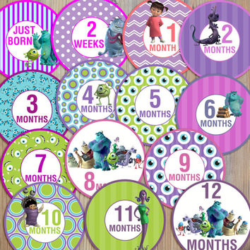 14 Monsters Inc Pink Purple Aqua Blue Sulley Mike Randy Boo Baby Girl Newborn Monthly Milestone Stickers