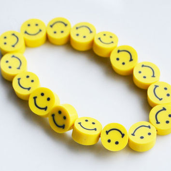Smiley Face Bracelet by SweetnNeatJewellery on Etsy