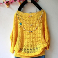 Women  Loose Batwing Pullovers Autumn Hollow Out Crochet Casual Knitted Sweater one size = 1945858500
