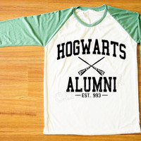 Hogwarts Alumni T-Shirt Harry Potter T-Shirt Hogwarts Shirt Green Sleeve Shirt Women Shirt Men Shirt Unisex Shirt Baseball Tee Shirt S,M,L