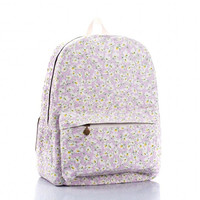 Daisy Print Canvas School Backpack Book Bag