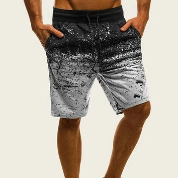 Fashion Casual Men Drawstring Waist Ombre Shorts