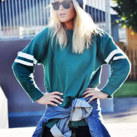 Green Stripe Large Size Loose Sweater Shirt