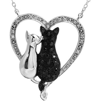 """Sterling Silver Black & White Diamond Cats Heart 18"""" Necklace"""