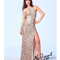 Mac Duggal 3434A Gold Sequin Embellished Key Hole Open Back Evening Gown 2015 Prom Dresses