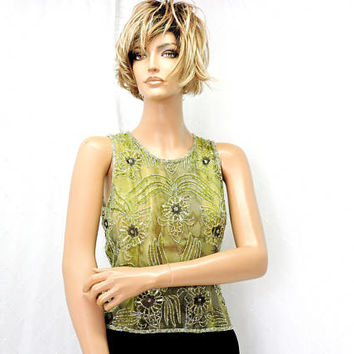 Silk beaded top / size S / silk green beaded sheer cami top / embroidered beaded sleeveless top