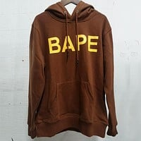 Bape 2020 autumn and winter new solid color chest letter print hooded sweater