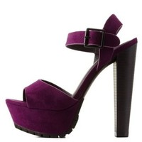 Purple Lug Sole Platform Chunky Heel Sandals by Charlotte Russe