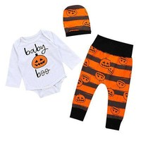 Infant Toddler Baby Girls Boy Clothes Sets Playsuit Bodysuit Tops Long Sleeve Pants Hat Cotton Outfits Clothing Baby Boy