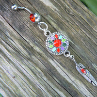 enameled dreamcatcher belly ring  RED in  tribal boho hippie belly dancer beach bohemian
