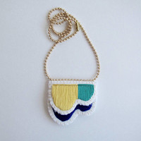 Embroidered abstract necklace on matte gold tone ball chain. Summer 2017 colors in dark blue, emerald green, and yellow An Astrid Endeavor