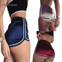 High Waist Ladies Sports Stain Shorts 2018 Summer Fitness Slik Booty Shorts For Women Hot Sexy Pole Dance Shorts Pantalon D05