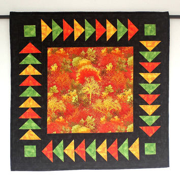 Fall Wall Quilt, Quilted Wall Hanging, Autumn Wall Decor, Table Topper, Black Orange Yellow Green, Table Quilt, Quiltsy Handmade
