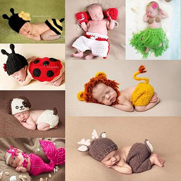 Newborn Photography Props Outfits 42 Styles Baby Accessories Photoshoot Infant Baby Costume Clothing Hand Knitted FREE SHIPPING