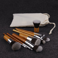 Handmade 11 Pcs Fiber Nylon Bamboo Handle Makeup Brush Set Best Gift + Free Shipping