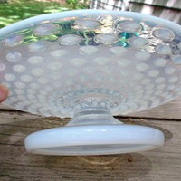 Glass White Opalescent Hobnail Vintage Footed Tray Plate