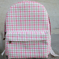 Pastoral Style Plaid Pink Casual Backpack = 4887926340