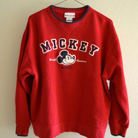 Disneyland Mickey Mouse Sweatshirt Red Crewneck Vintage Oversized 90s Large