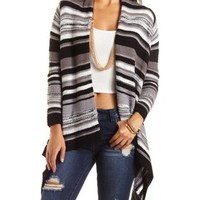 Striped Blanket Cardigan Sweater by Charlotte Russe - Black Combo