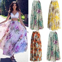 Spring Autumn Style BOHO Skirt Womens Floral Jersey Gypsy High Waist Long Maxi Full Skirt Summer Beach Sun Long Skirt