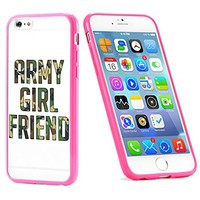 Popular Apple iPhone 6 or 6s Army Girlfriend USA Military Gift for Teens TPU Bumper Case Cover Mobile Phone Accessories Hot Pink