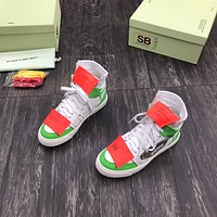 OF OFF-WHITE OFF WHITE Men's And Women's Leather Fashion Low Top Sneakers Shoes