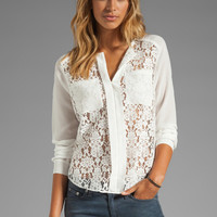 Rebecca Taylor Lace Blouse in Cream from REVOLVEclothing.com