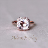 New 8x8mm Cushion Cut  VS  Morganite Ring 14K Rose Gold  Diamonds Engagement Ring/  Wedding Ring/ Anniversary Ring