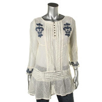 Free People Womens Ruffled Embroidered Tunic Top