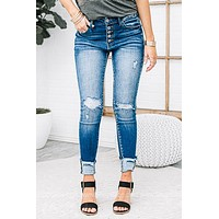 Five Button High Rise Ankle Skinny Jeans