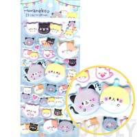 Chubby Kitty Cat Animal Themed Super Puffy Stickers for Scrapbooking from Japan