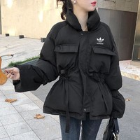 """""""Adidas"""" Women Loose Fashion Solid Color Drawstring Long Sleeve Upright Neck Cotton-padded Clothes Coat"""