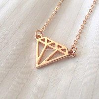 Diamond Necklace - 2 colors available (gold and silver) - dainty, cute and lovely diamond pendant jewelry; diamond structured necklace
