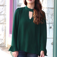 Take Me Out High Neck Keyhole Blouse {Hunter Green}