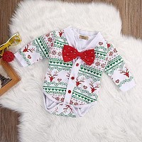 Christmas Gentleman Baby Girl Boy clothes XMAS 2pcs set Snowflake Coat Romper baby clothing set Outfits