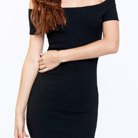 OFF THE SHOULDER RIBBED BODYCON DRESS - SALE