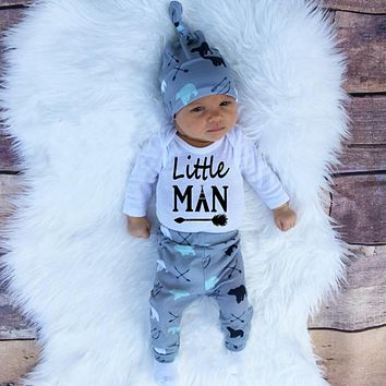 baby boy clothes set cotton long-sleeved Romper + trousers + hat newborn baby boy clothes set