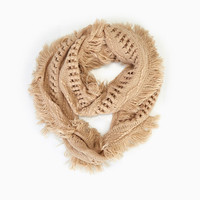 Mixed Stitch Infinity Scarf With Fringe | Wet Seal