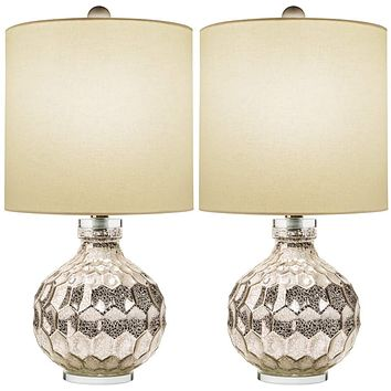 """Glass Table Lamp Set of 2 